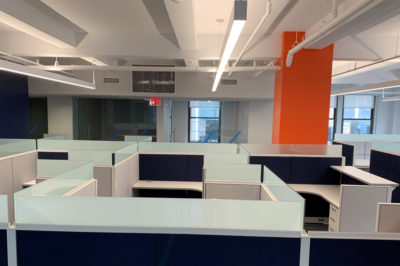 Work Stations with Desks, Chairs, and Storage
