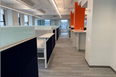 Open Floor Plan Work Space with Workstations and Partitions